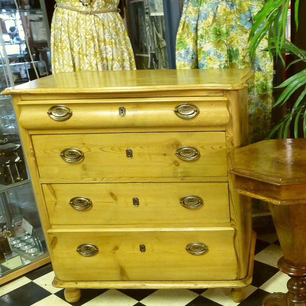 Antique-Art-Nouveau-pine-chest-drawers