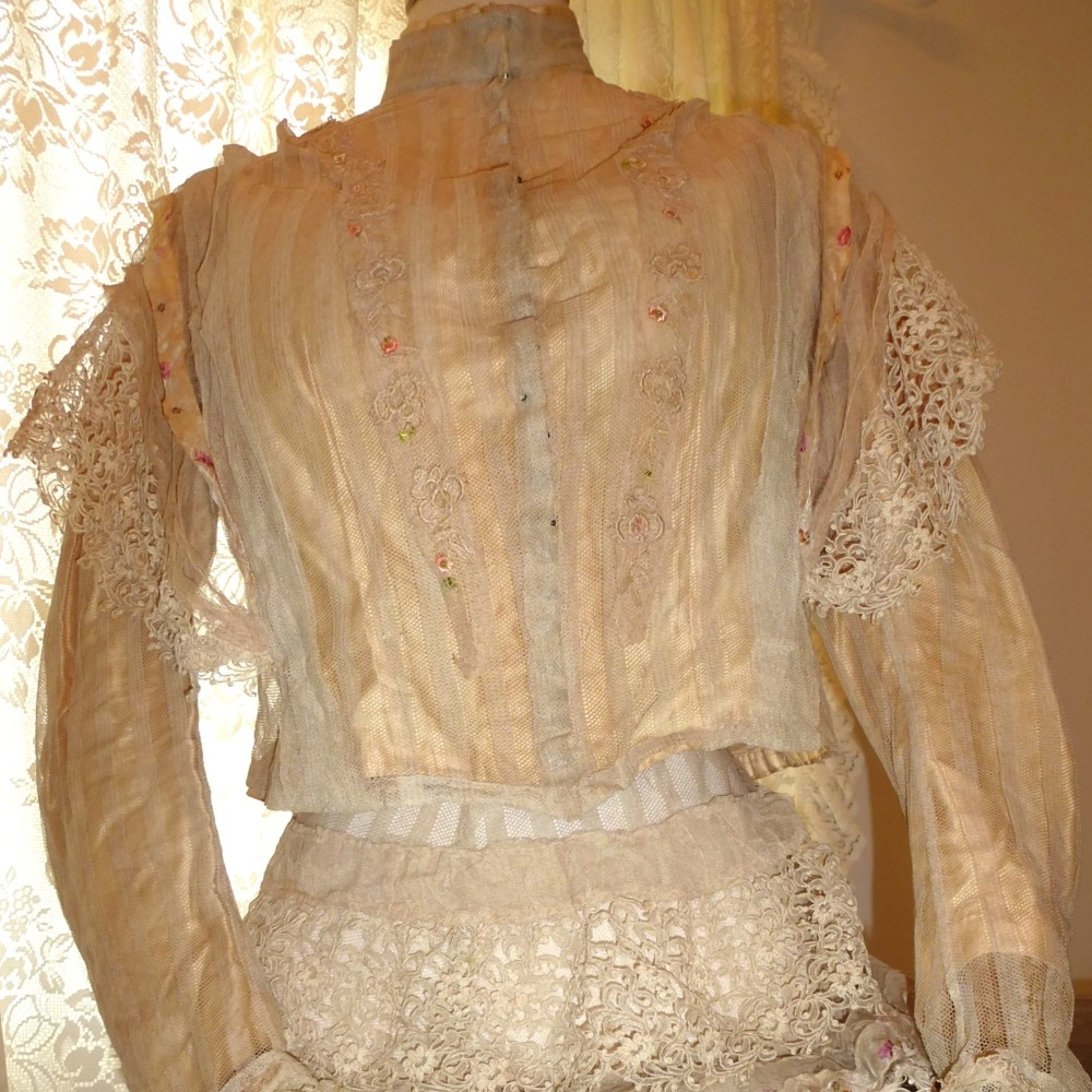 Antique-Edwardian-lace-silk-bodice-blouse-skirt