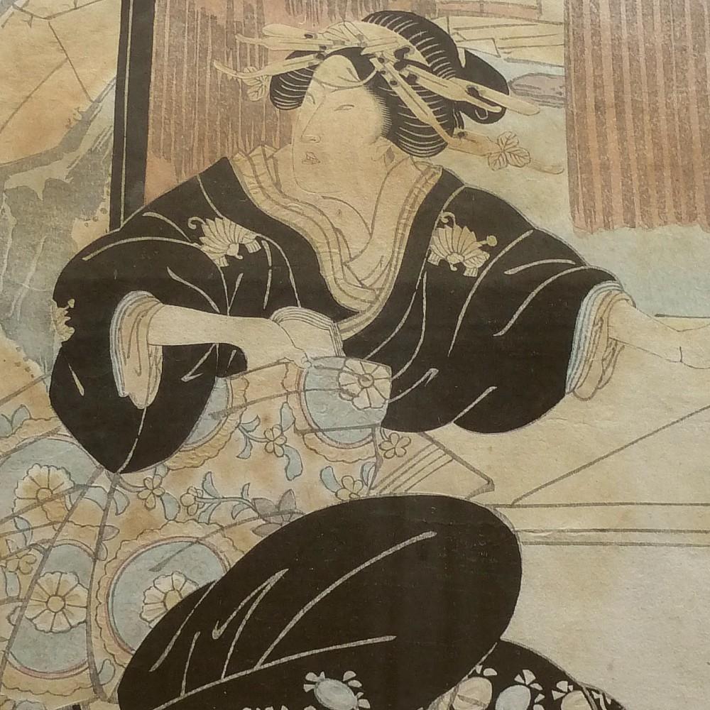 Vintage-Japanese-woodblock-print-geisha-kimono-obi
